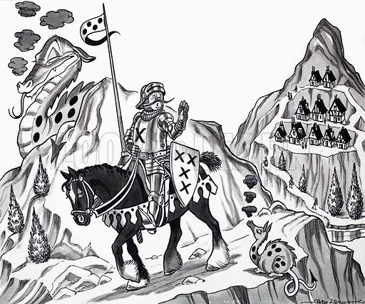 Nursery rhyme illustration. From Treasure (artwork dated 25/7/70). Original artwork loaned for scanning by the Illustration Art Gallery.