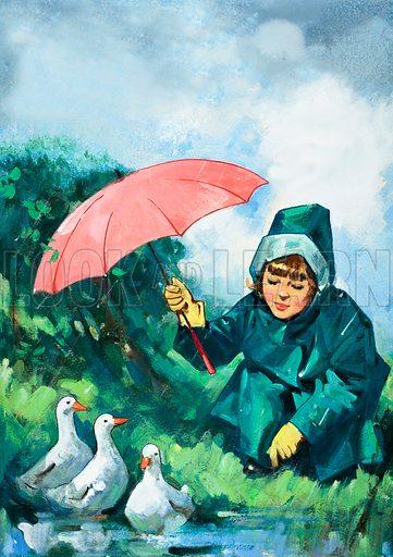 Ducks in the rain. Original artwork loaned for scanning by the Illustration Art Gallery.