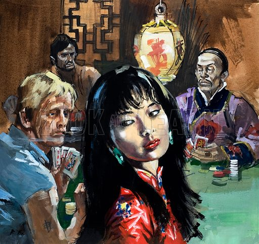 Unidentified girl in Chinese gambling den. Original artwork.