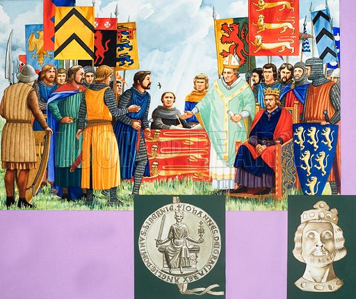 Magna Carta. Original artwork for illustration in World of Knowledge issue of 6 December 1980.