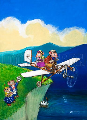 Town and country mouse flying, picture, image, illustration