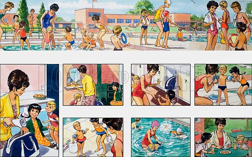 Mother Shows You How: at the swimming pool. From Teddy Bear (26 May 1973).