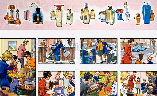 Mother Shows You How: selling perfume. From Teddy Bear (4 March 1972). Original artwork loaned for scanning by the Illustration Art Gallery.