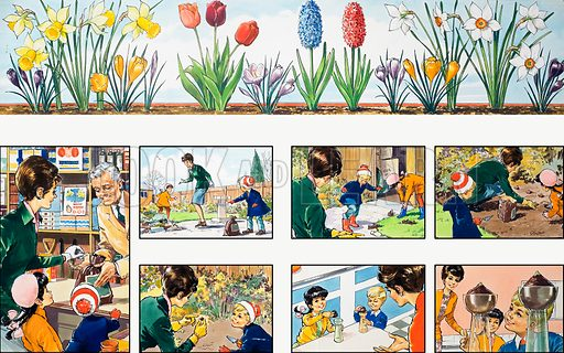 Mother Shows You How: growing flowers. From Teddy Bear (30 September 1972). Original artwork loaned for scanning by the Illustration Art Gallery.