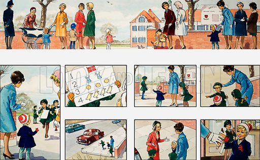 Mother Shows You How: going to school. From Teddy Bear (8 April 1967). Original artwork loaned for scanning by the Illustration Art Gallery.