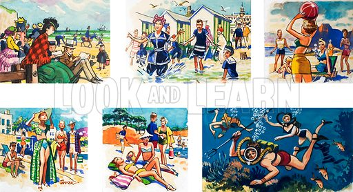 From Then Till Now: At the Seaside. From Look and Learn no. 83 (17 August 1963).