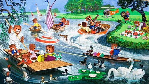 Teddy Bears on the River. Source unknown (probably Teddy Bear Annual).