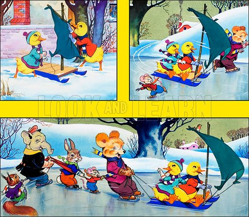 Dicky and Dolly. Comic strip from Playhour no. 117 (5 January 1957). Original artwork loaned for scanning by the Illustration Art Gallery.