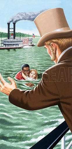 Uncle Tom's Cabin. Uncle Tom is seen rescuing little Eva St Clare from the river. He brings her safely to her father who shows his gratitude by buying Tom.