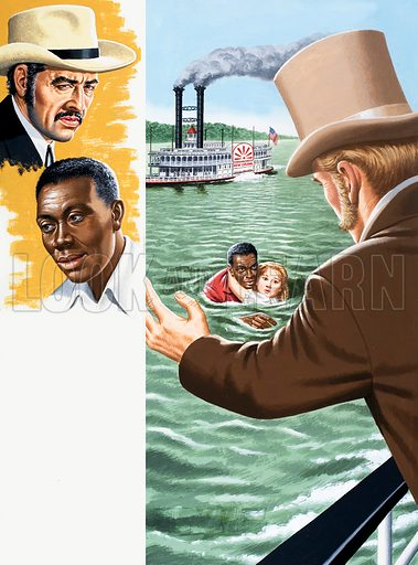 Unidentified man rescuing a girl who has falled from a paddle steamer. Original artwork (dated 14/6/80).
