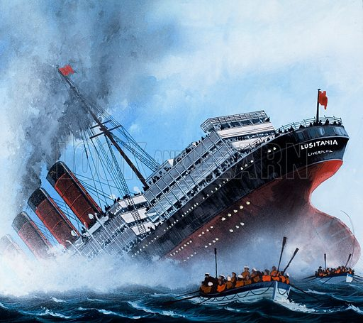 Sinking of the Lusitania by a German U-boat, World War I, 1915. From Look and Learn no. 993 (21 March 1981).