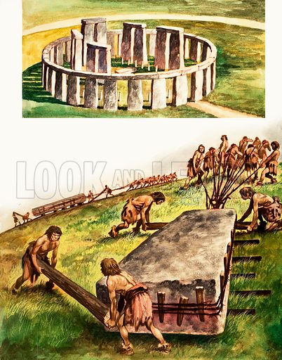 Building Stonehenge. Treasure no. 215 (25 February 1967). Original artwork loaned for scanning by the Illustration Art Gallery.