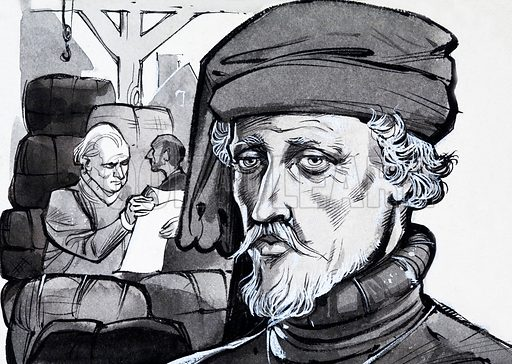 Unidentified portrait of merchant. Original artwork (dated 15/2/70).