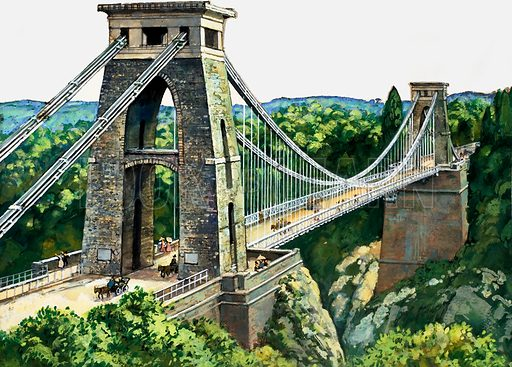 Clifton Suspension Bridge. Original artwork loaned for scanning by the Illustration Art Gallery.