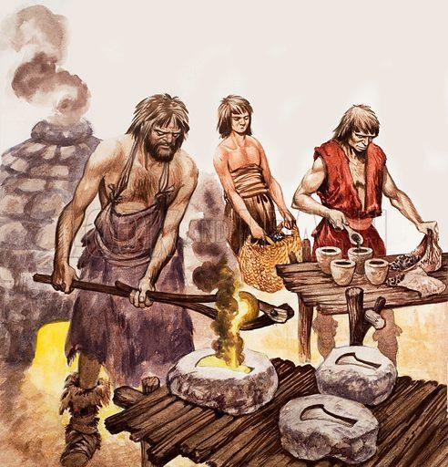 Bronze Age men pouring molten bronze into moulds to make axe heads (Unused artwork?) Dated Treasure 9 Feb (1963?).