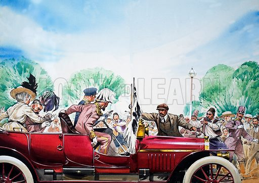 Assassination of Archduke Franz Ferdinand of Austria, Sarajevo, 1914. The assassination provoked the outbreak of the First World War.