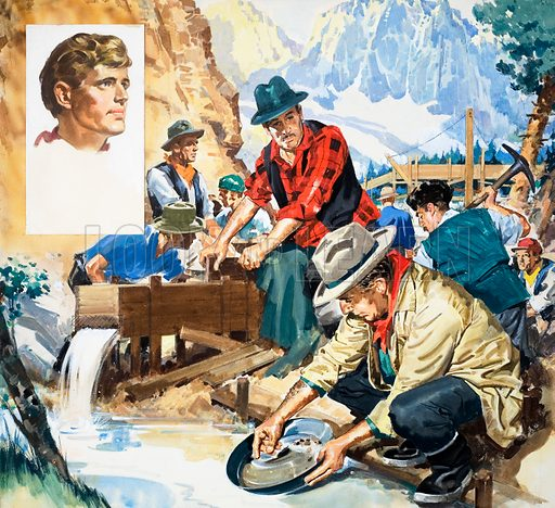 American author Jack London and the Klondike Gold Rush, inspiration for his novels The Call of the Wild and White Fang. From Look and Learn no. 363 (28 December 1968).