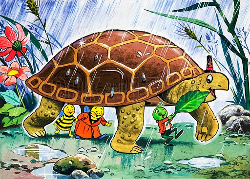 Gregory Grasshopper and Tortoise in the rain (illustration, picture, art)