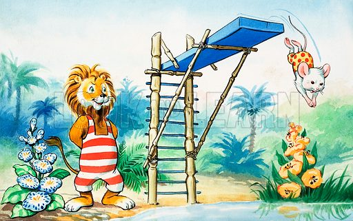 Leo the Friendly Lion. From Playhour (date unknown). Original artwork loaned for scanning by the Illustration Art Gallery.