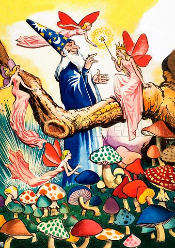 Wizard in the Mushroom Forest. From Playhour (date unknown).