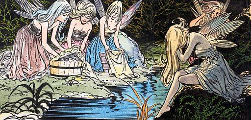 Fairies washing. Source unknown.