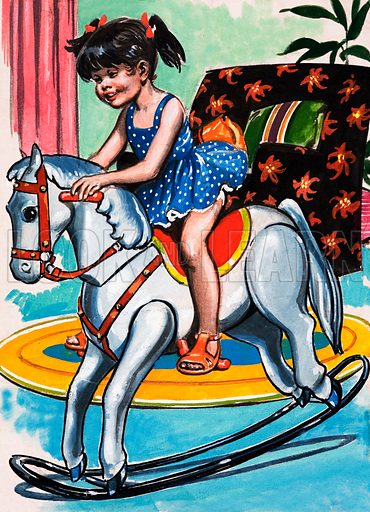 Girl on Rocking Horse. Probably from Teddy Bear.