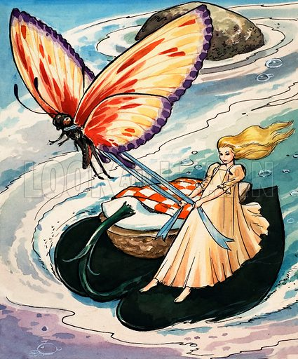 Thumbelina being towed by a butterfly, scene from the fairy tale by Hans Christian Andersen.