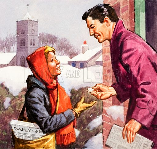 Newspaper Boy. Panel from cover of Look and Learn no. 154 (26 December 1964).