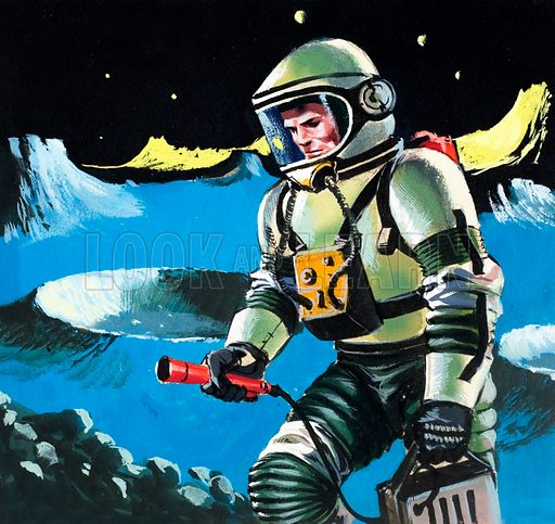 Spaceman testing the atmosphere. Panel from cover of Look and Learn no. 142 (3 October 1964).