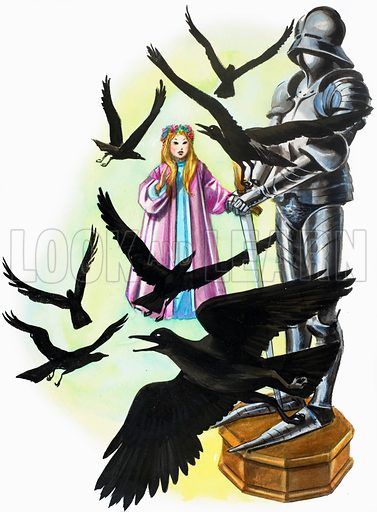 Girl, crows and armour. Original artwork loaned for scanning by the Illustration Art Gallery.