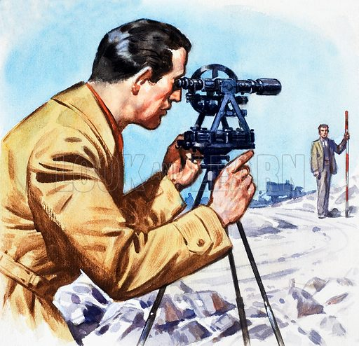 Theodolite. Panel from cover quiz from Look and Learn no. 150 (28 November 1964). Original artwork loaned for scanning by the Illustration Art Gallery.
