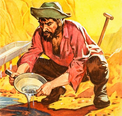Panning for gold. Panel from front cover of Look and Learn no. 152 (12 December 1964).