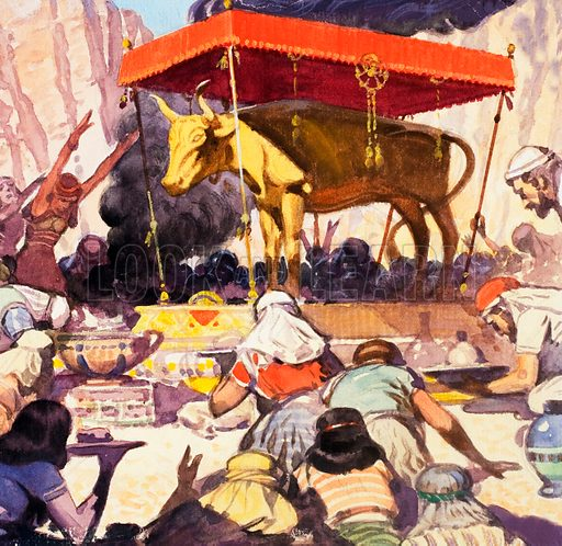 While Moses was away, the Israelites melted down their gold ornaments and jewelry to build a golden idol in the shape of a calf. He was very angry when he returned. He destroyed the calf and rebuked Aaron, who had organised its construction. Original artwork for Look and Learn.