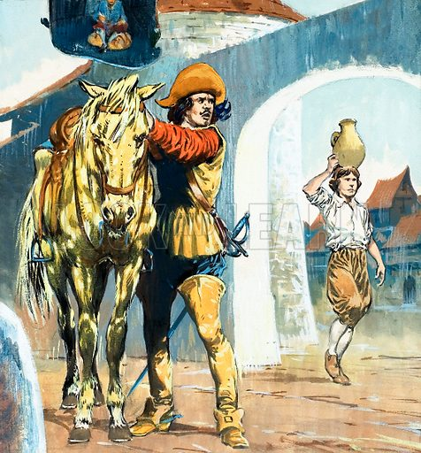 Unidentified picture of cavalier outside an inn with horse with boy carrying jug nearby. Original artwork.