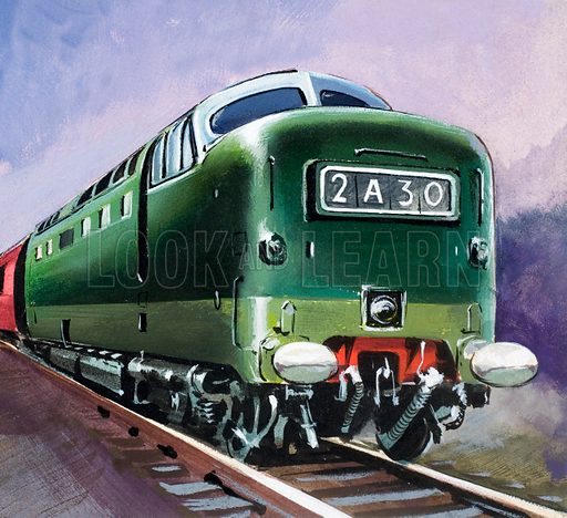 Diesel Locomotive. Panel from cover of Look and Learn no. 142 (3 October 1964).