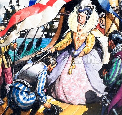 Queen Elizabeth and Francis Drake. Panel from cover quiz on Look and Learn no. 141 (26 September 1964).