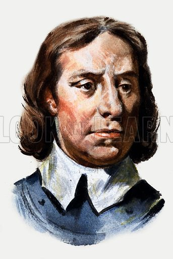 Oliver Cromwell. Panel from the cover of Look and Learn no. 182 (10 July 1965).