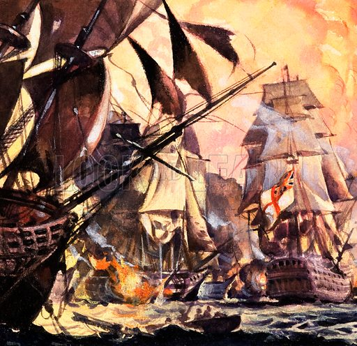 Battle of Trafalgar. Panel from the cover of Look and Learn no. 182 (10 July 1965). Original artwork loaned for scanning by the Illustration Art Gallery.