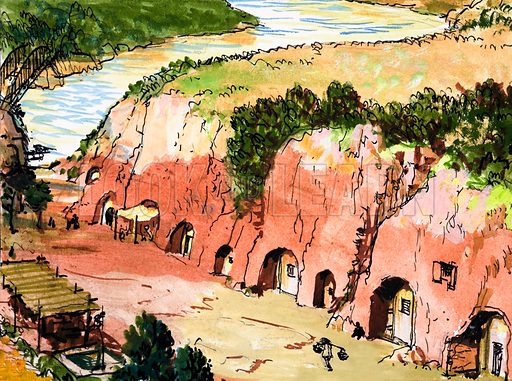 Cave Settlement by River.