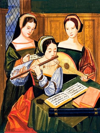 Flute and Lute. Based on a sixteenth century Flemish painting. Original artwork loaned for scanning by the Illustration Art Gallery.