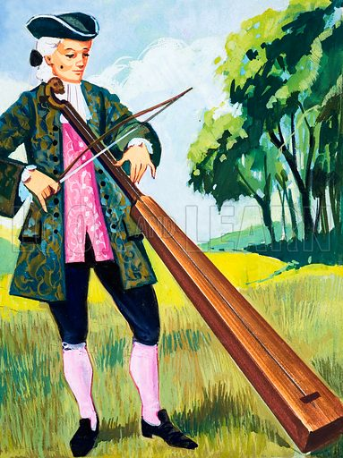Man Playing a Monochord. Original artwork loaned for scanning by the Illustration Art Gallery.