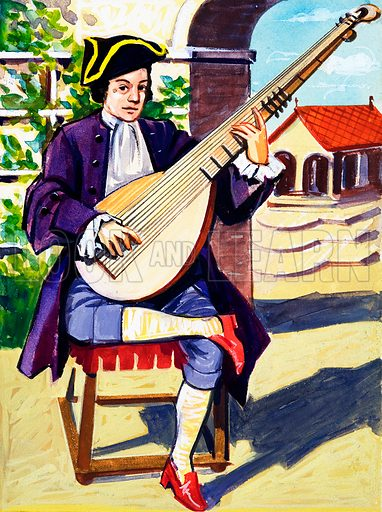 Man Playing Archlute.