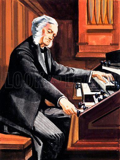 Man Playing Organ.