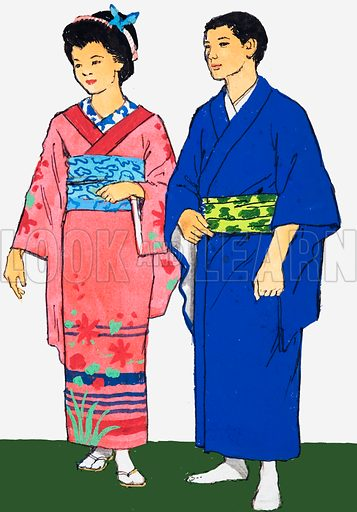 Unidentified picture of Japanese man and woman. Original artwork.
