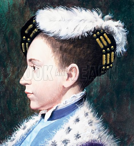 Edward VI. Panel from cover of Look and Learn no. 203 (4 December 1965).