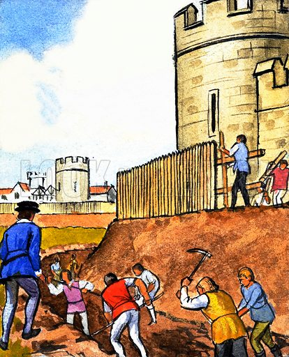 Unidentified scene of men digging moat around castle. Original artwork.