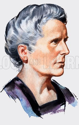 Marie Curie. Panel from front cover of Look and Learn no. 179 (19 June 1965). Original artwork loaned for scanning by the Illustration Art Gallery.