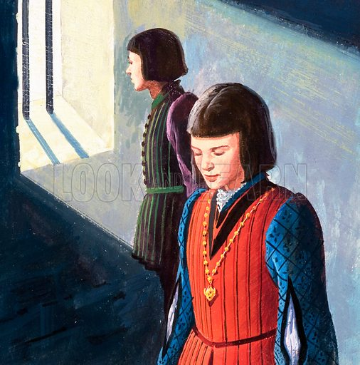 The Princes in the Tower including King Edward V. Panel from cover of Look and Learn no. 203 (4 December 1965).