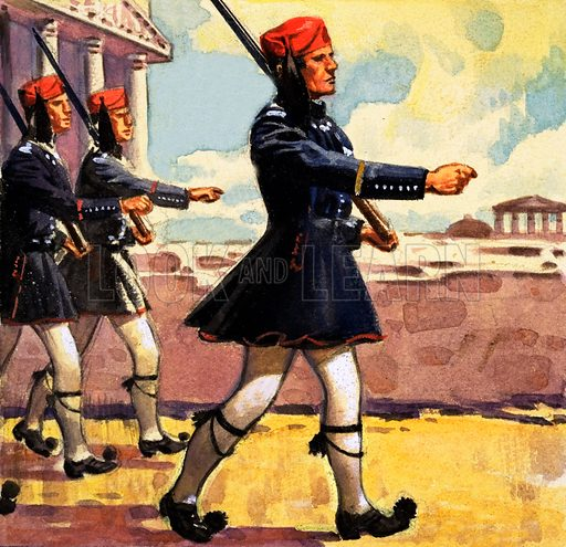 Greek Guards. Panel from the cover of Look and Learn no. 184 (24 July 1965). Original artwork loaned for scanning by the Illustration Art Gallery.