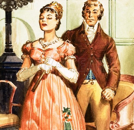 Pride and Prejudice's Elizabeth and Mr Darcy. Panel from cover quiz for Look and Learn no. 180 (26 June 1965).